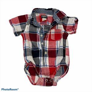 OshKosh Bgosh Plaid Bodysuit Collared 9 Months.